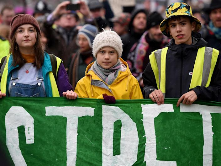 Greta Thunberg joins protesters at the Bristol Youth Strike 4 Climate march: Getty