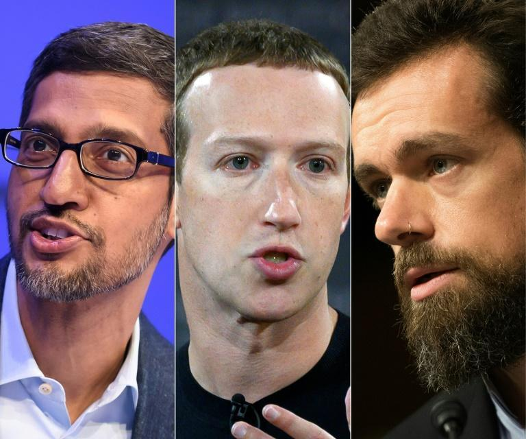 CEOs Sundar Pichai of Alphabet/Google, Facebook's Mark Zuckerberg and Twitter's Jack Dorsey appeared by video at a Senate hearing on content moderation policies