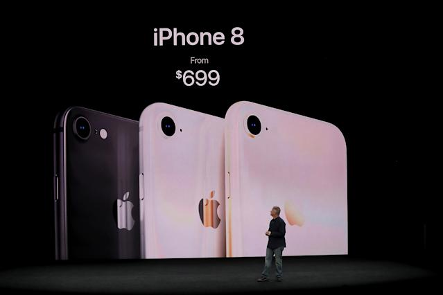 <p>The new iPhone 8 starts at $829 CAD, while the iPhone 8 Plus starts at $1,059. (Photo by Justin Sullivan/Getty Images) </p>