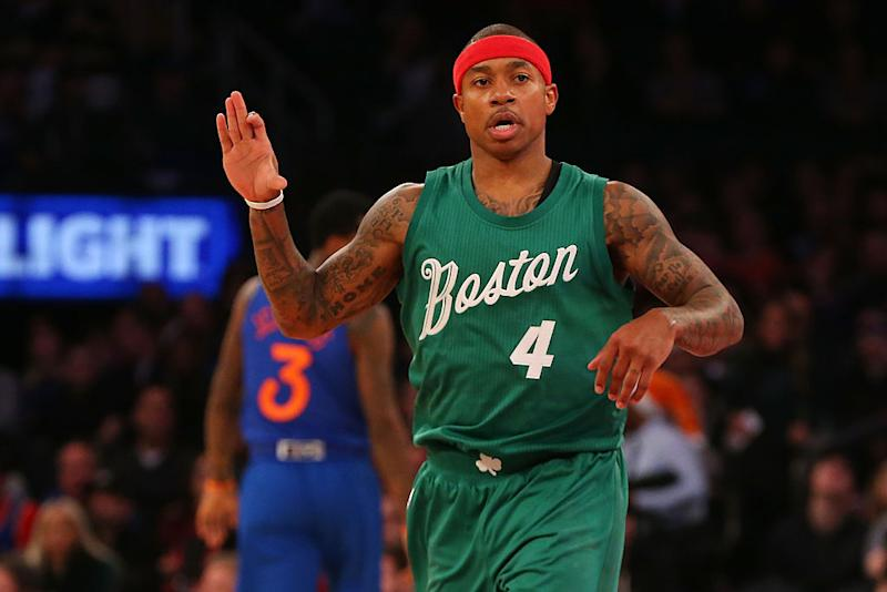 54b89ecb75da Isaiah Thomas reacts after hitting a 3-pointer against the Knicks at  Madison Square Garden