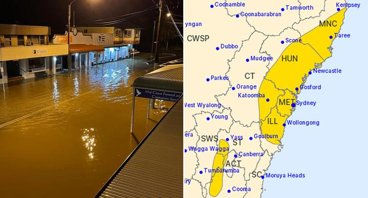 A flooded street in Port Macquarie is pictured left. On the right is a map highlighting the parts of NSW where a severe weather warning has been issued.