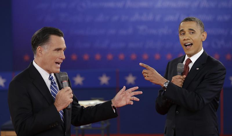 President Barack Obama and Republican presidential candidate Mitt Romney exchange views during the second presidential debate at Hofstra University, Tuesday, Oct. 16, 2012, in Hempstead, N.Y. (AP Photo/David Goldman)