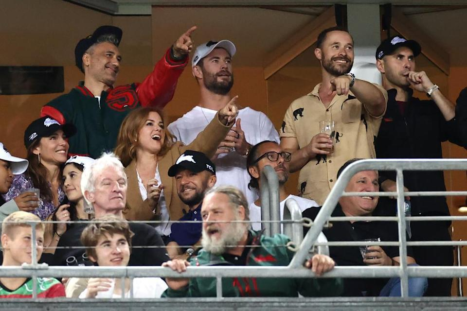 Aussiewood: Taika Waititi, Chris Hemsworth, Elsa Pataky, Isla Fisher and Russell Crowe enjoyed the round three NRL match between the South Sydney Rabbitohs and the Sydney Roosters at Stadium Australia in March.