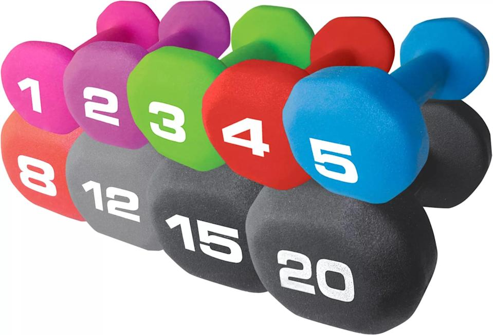 <p>The five-pound version of the <span>Fitness Gear Neoprene Dumbbell</span> ($10) is sold as a single weight, so if you want a pair of these weights, grab two for $20.</p>