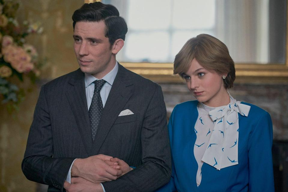 THE CROWN, from left: Josh O'Connor as Prince Charles, Emma Corrin as Diana Princess of Wales, 'Gold Stick', (Season 4, ep. 401, aired Nov. 15, 2020). photo: Des Willie / Netflix / Courtesy: Everett Collection