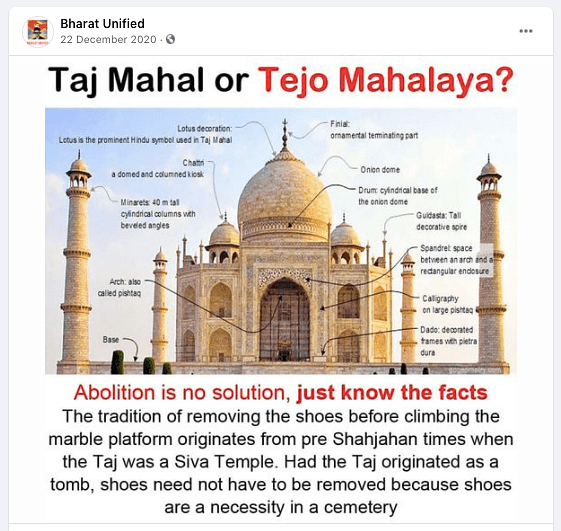 """This particular conspiracy theory has been debunked by the <a href=""""https://www.hindustantimes.com/india-news/taj-mahal-is-a-tomb-and-not-a-temple-asi-tells-court/story-TaVPTc0ppaTzgbzpyrihsM.html"""" rel=""""nofollow noopener"""" target=""""_blank"""" data-ylk=""""slk:Archaeological Survey of India"""" class=""""link rapid-noclick-resp"""">Archaeological Survey of India</a> itself."""