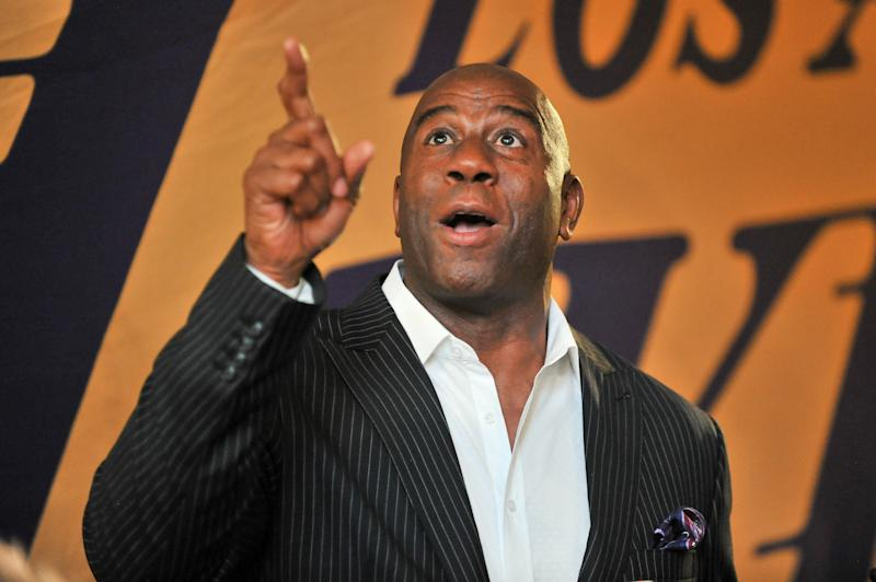 Magic Johnson at the NBA season opener between the Los Angeles Lakers and Los Angeles Clippers. (Allen Berezovsky via Getty Images)