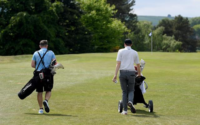 Matt Fitzpatrick of England and his brother Alex Fitzpatrick during a practice round at Hallamshire Golf Club - Getty Images