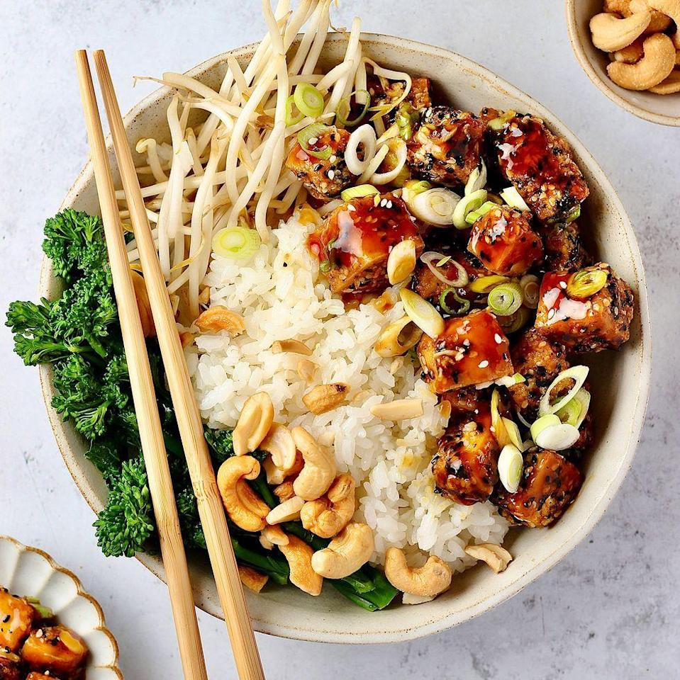 """<p>This teriyaki <a href=""""https://www.delish.com/uk/cooking/recipes/a29870964/tofu-stir-fry-recipe/"""" rel=""""nofollow noopener"""" target=""""_blank"""" data-ylk=""""slk:tofu"""" class=""""link rapid-noclick-resp"""">tofu</a> is totally delicious, coated in panko breadcrumbs and sesame seeds for a crispy coating. Serve with steamed rice and broccoli, or noodles - whatever you fancy! </p><p>Get the <a href=""""https://www.delish.com/uk/cooking/a37067292/teriyaki-tofu/"""" rel=""""nofollow noopener"""" target=""""_blank"""" data-ylk=""""slk:Crispy Teriyaki Tofu"""" class=""""link rapid-noclick-resp"""">Crispy Teriyaki Tofu</a> recipe.</p>"""
