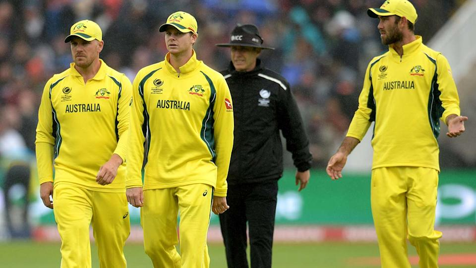 Aaron Finch, Steve Smith and Glenn Maxwell, pictured here in action for Australia.
