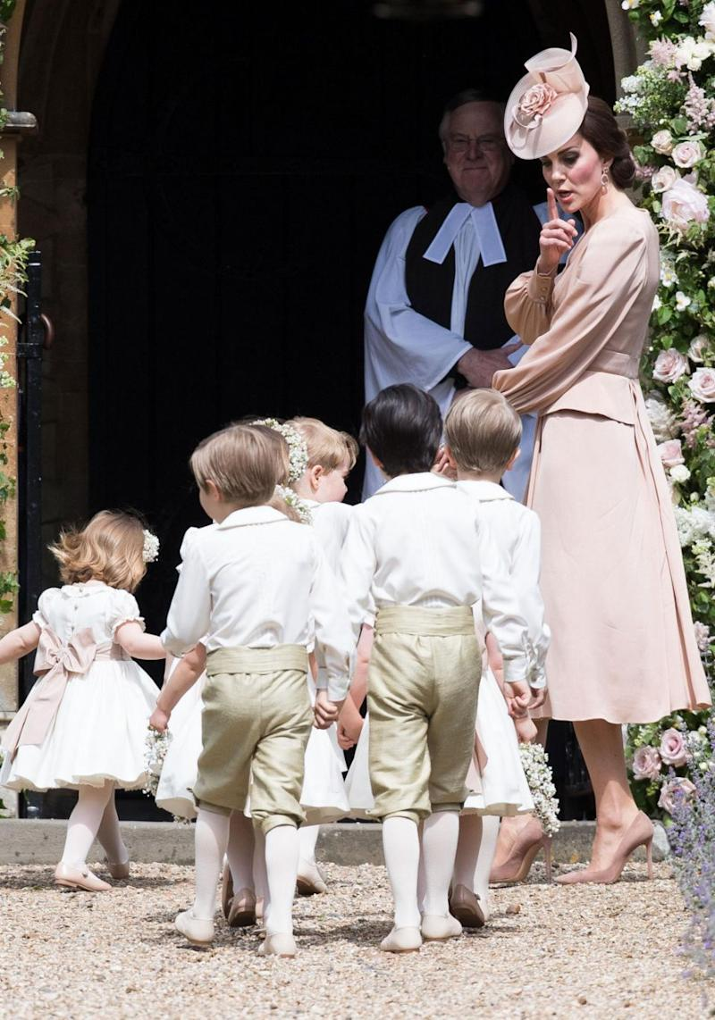 Catherine, Duchess of Cambridge lead the page boys and flower girls. Source: Getty