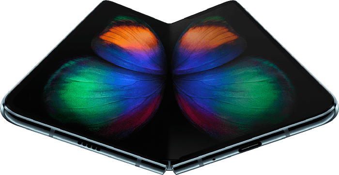 The Samsung Galaxy Fold smartphone featuring an OLED display that unfolds to make a larger-size display.