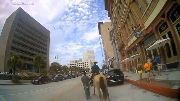 PHOTO: Galveston police released bodycam footage of Donald Neely being walked through Galveston by officers on horseback. (Galveston Police Dept.)