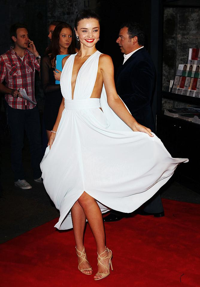 Model Miranda Kerr did her best Marilyn Monroe impression when she arrived at the 2012 Women of Style Awards in Sydney, Australia, on Tuesday. (5/14/2012)