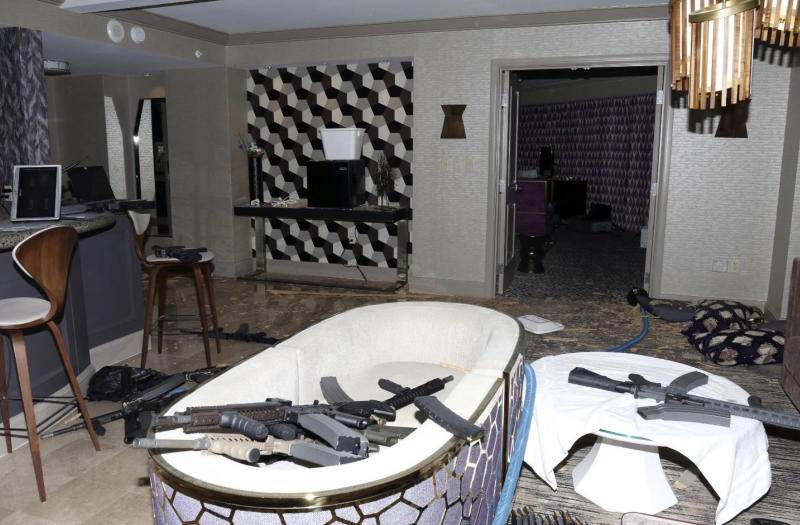 FILE - This October 2017 file photo taken by the Las Vegas Metropolitan Police Department shows the interior of Stephen Paddock's room on the 32nd floor of the Mandalay Bay hotel in Las Vegas, from which he committed the mass shooting that killed 58 people. Douglas Haig was sentenced Tuesday, June 30, 2020, to 13 months in federal prison for selling home-loaded bullets to Paddock. Haig was also sentenced to three years of supervised release for his guilty plea last November to manufacturing ammunition without a license. (Las Vegas Metropolitan Police Department via AP, File)