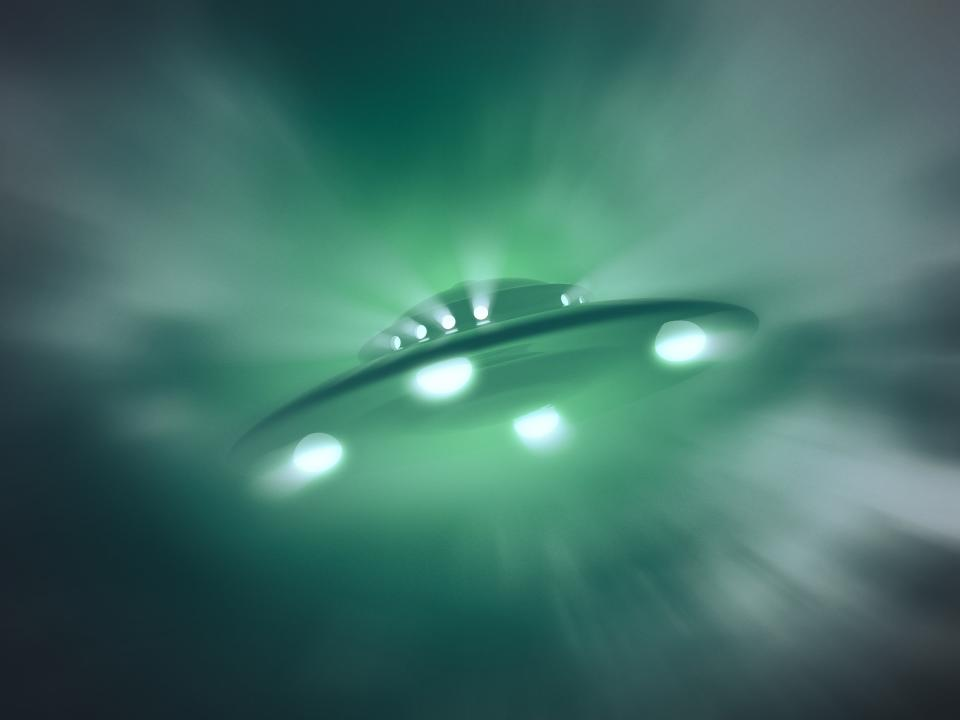 Artwork of a UFO or unidentified flying object.