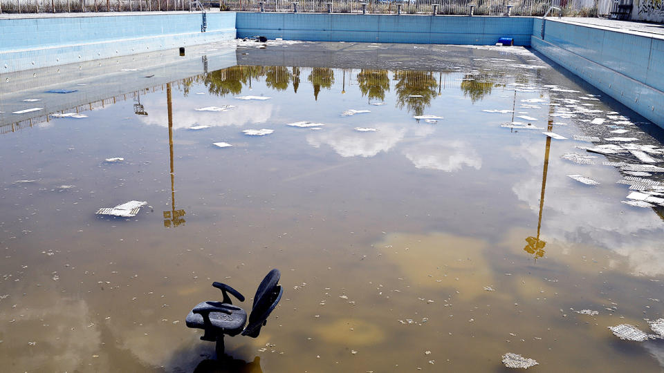 An abandoned swimming pool, pictured here in the Olympic Park in Athens.