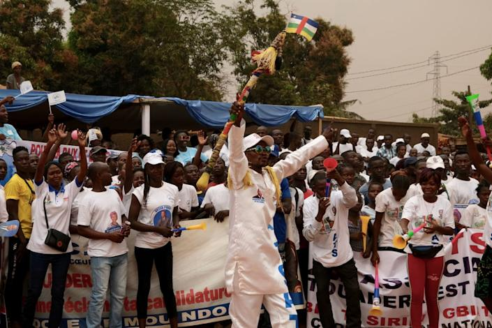 """<div class=""""inline-image__caption""""><p>Supporters of incumbent president Faustin Archange Touadera gather during his opening campaign rally for the presidential election in Bangui, on December 12 2020.</p></div> <div class=""""inline-image__credit"""">CAMILLE LAFFONT/AFP via Getty Images</div>"""