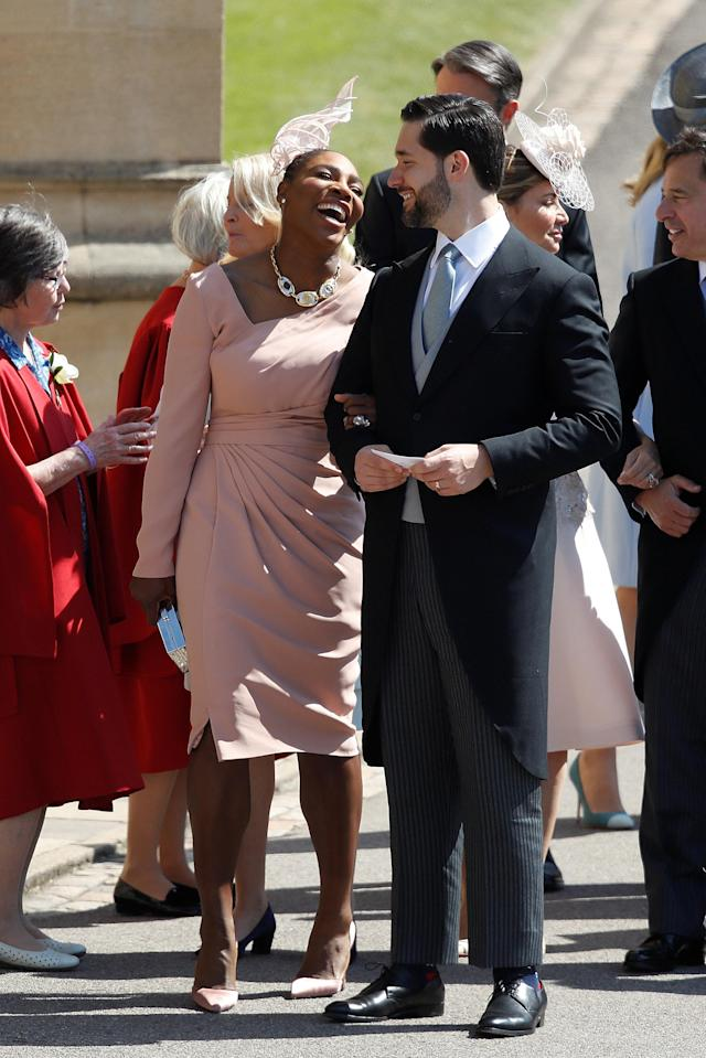 Meghan Markle's friend, US tennis player Serena Williams and her husband US entrepreneur Alexis Ohanian arrive for the wedding ceremony of Britain's Prince Harry, Duke of Sussex and US actress Meghan Markle at St George's Chapel, Windsor Castle, in Windsor, Britain, May 19, 2018. Odd ANDERSEN/Pool via REUTERS