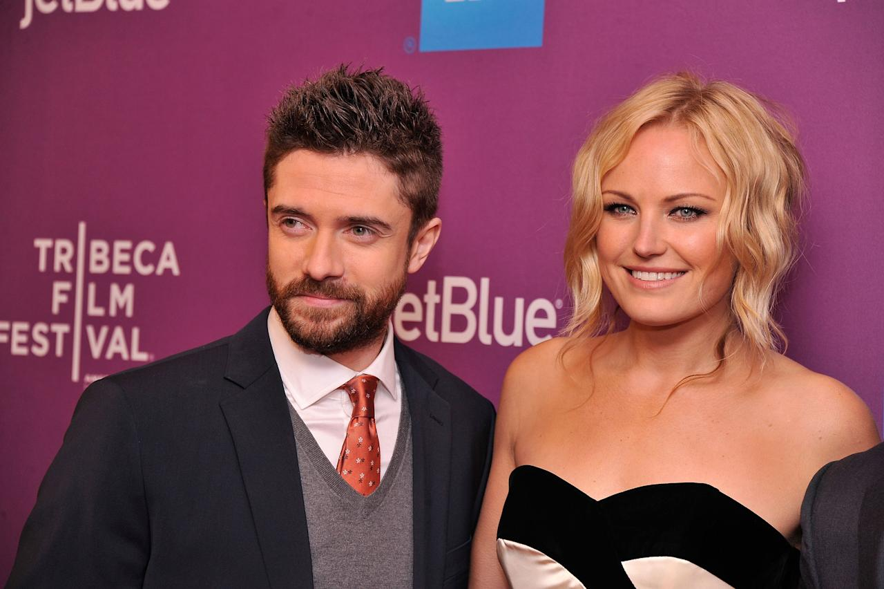 "NEW YORK, NY - APRIL 23:  Actor Topher Grace and Actress Malin Akerman attend ""Giant Mechanical Man"" Premiere during the 2012 Tribeca Film Festival at the School of Visual Arts Theater on April 23, 2012 in New York City.  (Photo by Stephen Lovekin/Getty Images)"