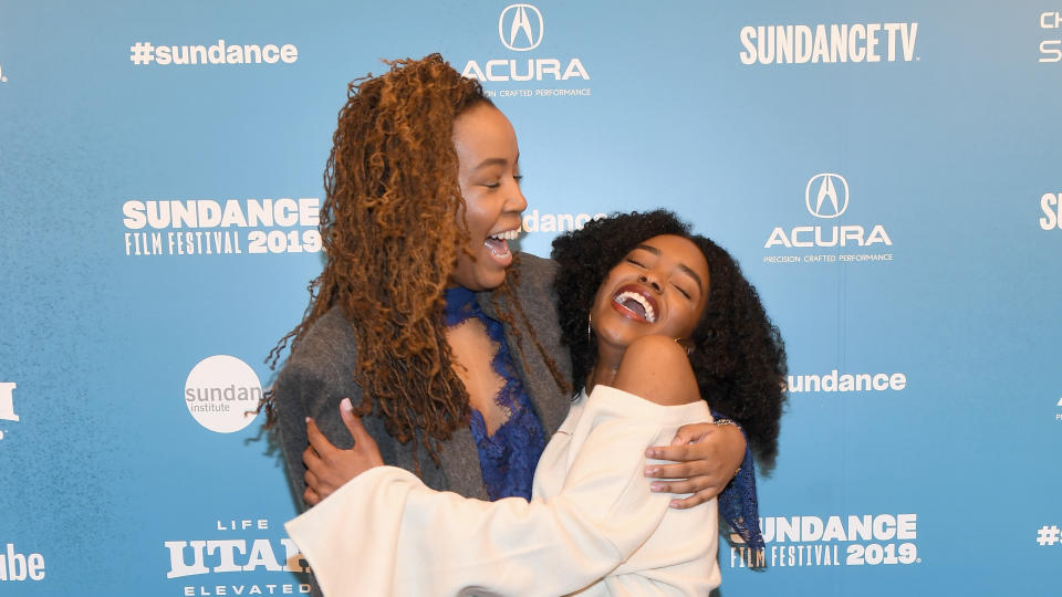 "Writer and director Tayarisha Poe (L) and actor Lovie Simone attend the ""Selah And The Spades"" Premiere during the 2019 Sundance Film Festival. (Photo by Sonia Recchia/Getty Images)"
