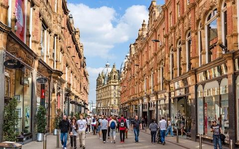 Shops on historic King Edward Street in the Victoria Quarter, Leeds, West Yorkshire - Credit: Ian Dagnall / Alamy Stock Photo