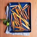 """<p>Brighten up your holiday table with rainbow carrots, roasted to golden brown then tossed with coriander, maple syrup and lime zest.</p><p><em><a href=""""https://www.goodhousekeeping.com/food-recipes/a34360792/coriander-maple-glazed-carrots-recipe/"""" rel=""""nofollow noopener"""" target=""""_blank"""" data-ylk=""""slk:Get the recipe for Coriander-Maple Glazed Carrots »"""" class=""""link rapid-noclick-resp"""">Get the recipe for Coriander-Maple Glazed Carrots »</a></em></p>"""