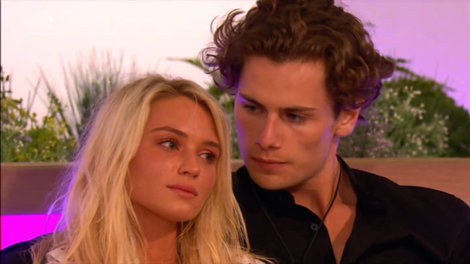 """<p><strong>Relationship status: <strong>Broken up / </strong>Mugged off </strong></p><p>On-off couple Lucie and Joe apparently split for good in early December. """"Always trust your instincts,"""" Lucie cryptically posted on Instagram as the news of their split became public and<a href=""""https://www.cosmopolitan.com/uk/entertainment/a30228969/amber-gill-joe-garratt-relationship/"""" rel=""""nofollow noopener"""" target=""""_blank"""" data-ylk=""""slk:Joe was spotted looking quite cosy in a club with Love Island winner Amber Gill."""" class=""""link rapid-noclick-resp""""> Joe was spotted looking quite cosy in a club with Love Island winner Amber Gill. </a></p><p>In the villa, Lucie momentarily moved on with George Rain after Joe got the boot, but after ditching George before getting evicted herself, Lucie and Joe got back together. But it clearly wasn't meant to be. </p>"""