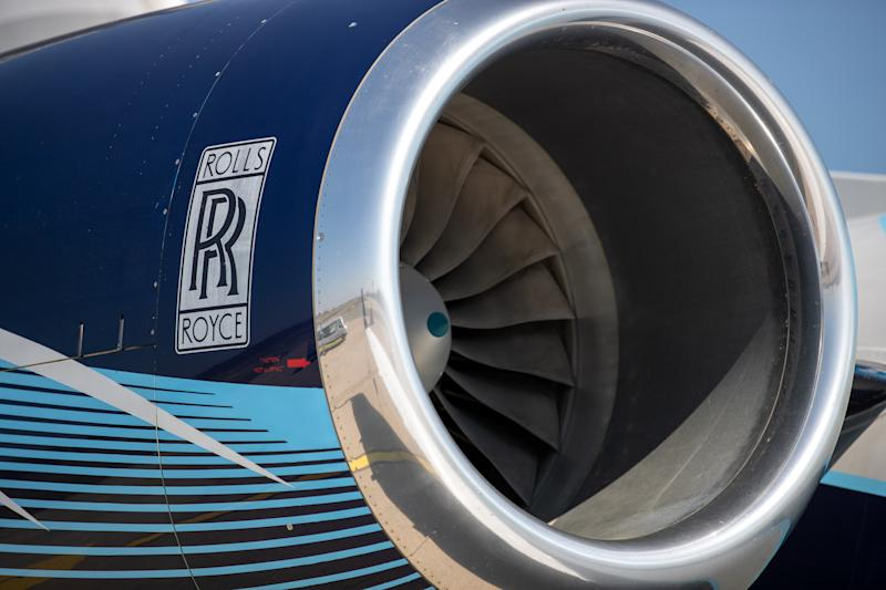 08 April 2020, Bavaria, Nuremberg: A Rolls Royce aircraft engine can be seen on a plane at Albrecht Dürer Airport Nuremberg. Photo: Daniel Karmann/dpa (Photo by Daniel Karmann/picture alliance via Getty Images)