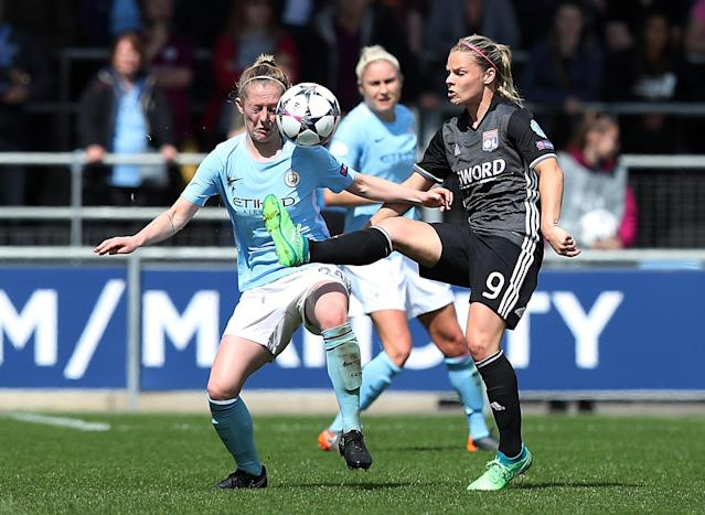 Soccer Football - Women's Champions League Semi-Final First Leg - Manchester City v Olympique Lyonnais - Academy Stadium, Manchester, Britain - April 22, 2018 Olympique Lyonnais' Eugenie Le Sommer in action with Manchester City's Keira Walsh Action Images via Reuters/John Clifton