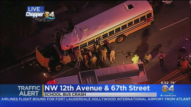 Reports Of Person Trapped Following Miami-Dade School Bus Crash