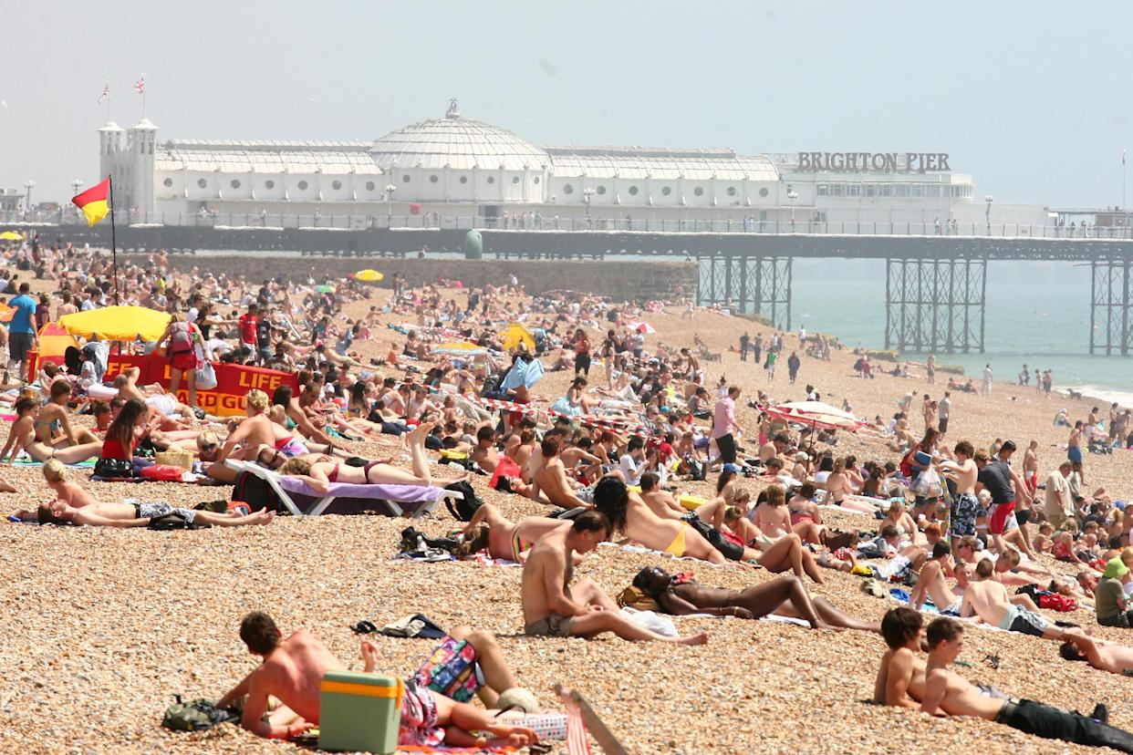 A general view of Brighton beach in Brighton, East Sussex, as the warm weather continues.