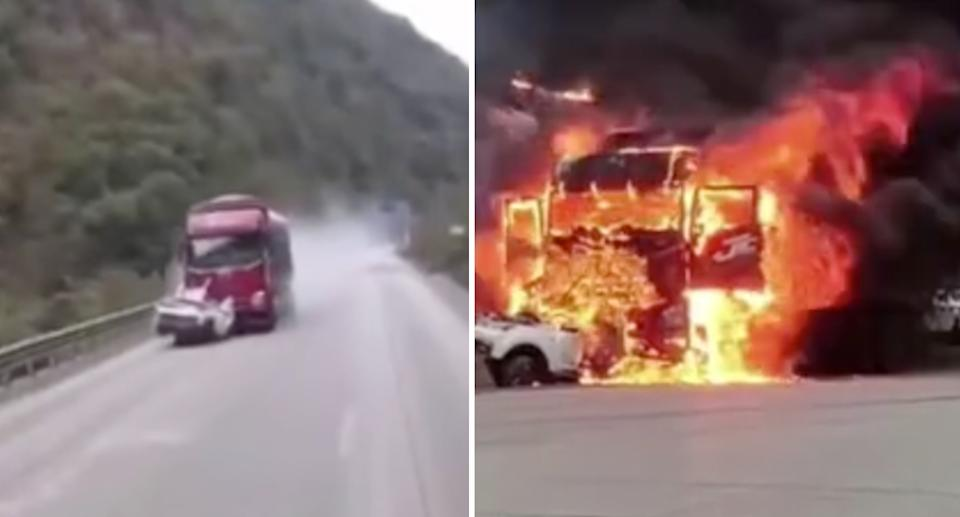 The crushed car becoming trapped under the truck and dragged down the highway. Source: The Paper/ Weibo