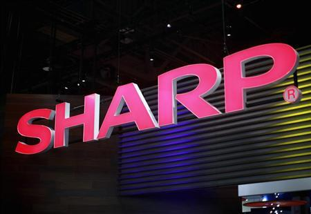A sign hangs in the Sharp booth on the first day of the Consumer Electronics Show in Las Vegas