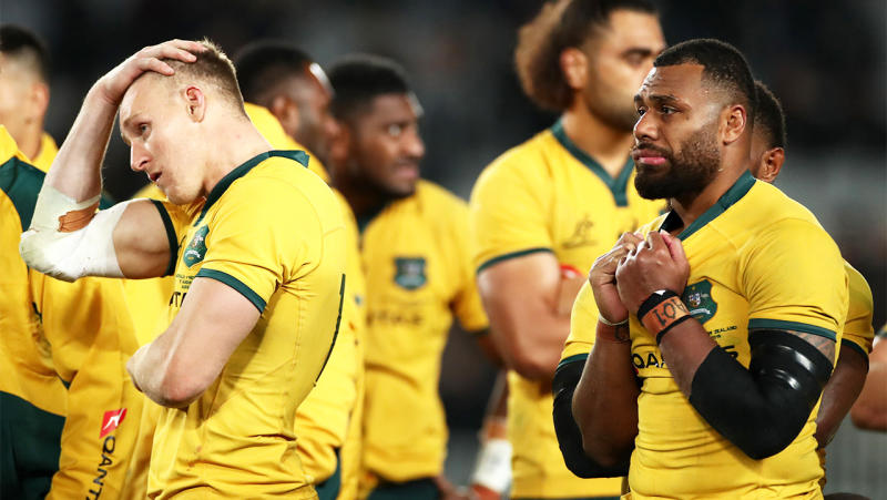 Reece Hodge of the Wallabies and Samu Kerevi of the Wallabies look dejected after losing The Rugby Championship and Bledisloe Cup Test. (Photo by Cameron Spencer/Getty Images)