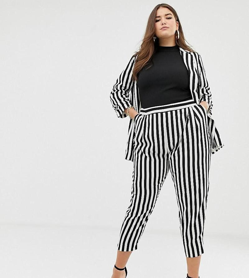 Asos Design Curve Tapered Suit Pants In Bold Mono Stripes (Photo: Asos)