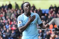 Manchester City's signing of Benjamin Mendy broke the transfer record for a defender that they had set just ten days earlier in July 2017 when they brought in Kyle Walker. Mendy signed from Monaco for £52 million. (Credit: Getty Images)
