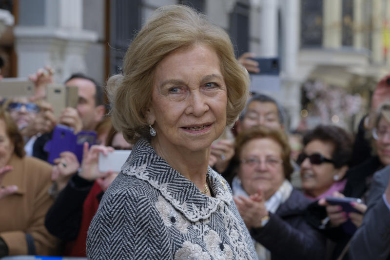 Queen Sofia of spain attends the traditional thanksgiving to Medinaceli on March 06, 2020 in Madrid, Spain. On the first Friday of March there is a tradition to kiss the feet of Cristo de Medinaceli sculpture to show devotion. Following instructions from the Cartagena Bishop, the congregation are not to kiss or touch the sculpture and exchanged the gesture by bowing their heads. (Photo by Oscar Gonzalez/NurPhoto via Getty Images)
