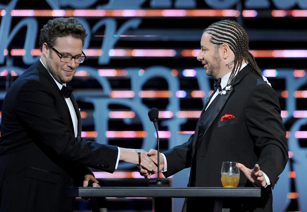 CULVER CITY, CA - AUGUST 25: (L-R) Roast Master Seth Rogen and comedian Jeffrey Ross speak onstage during The Comedy Central Roast of James Franco at Culver Studios on August 25, 2013 in Culver City, California. The Comedy Central Roast Of James Franco will air on September 2 at 10:00 p.m. ET/PT. (Photo by Kevin Winter/Getty Images for Comedy Central)