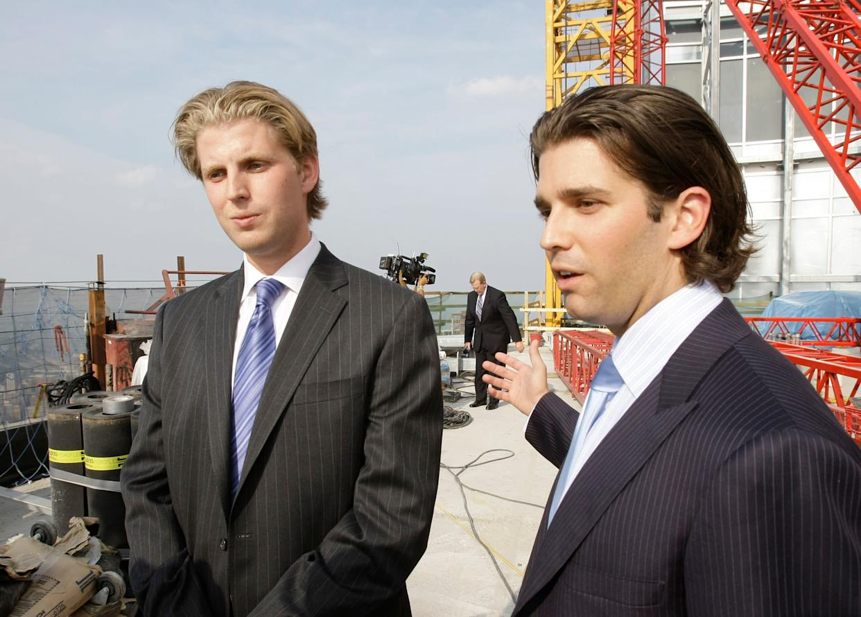 Eric Trump (left) graduated from Georgetown University in 2006.&nbsp;<br> Donald Trump Jr. (right) graduated from the&nbsp;Wharton School of the University of Pennsylvania in 2000. Both joined the Trump Organization shortly after college. (Photo: ASSOCIATED PRESS)