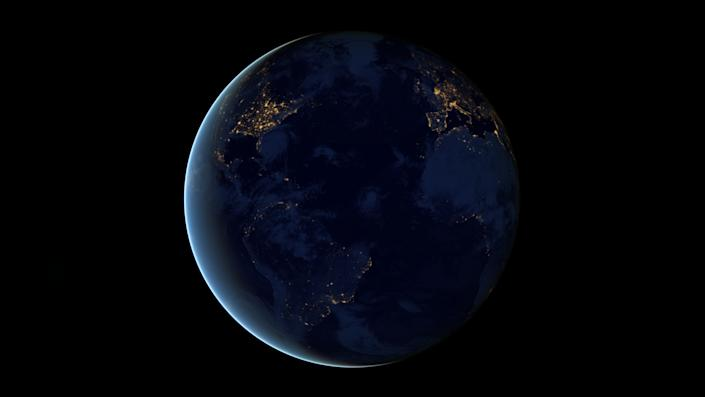 This new global view and animation of Earth's city lights is a composite assembled from data acquired by the Suomi National Polar-orbiting Partnership (Suomi NPP) satellite. The data was acquired over nine days in April 2012 and thirteen days in October 2012. It took satellite 312 orbits and 2.5 terabytes of data to get a clear shot of every parcel of Earth's land surface and islands. This new data was then mapped over existing Blue Marble imagery of Earth to provide a realistic view of the planet. (NASA)