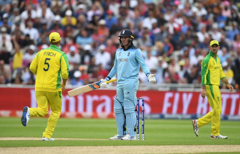 BIRMINGHAM, ENGLAND - JULY 11: Jason Roy of England(C) reacts after being given out during the Semi-Final match of the ICC Cricket World Cup 2019 between Australia and England at Edgbaston on July 11, 2019 in Birmingham, England. (Photo by Gareth Copley-IDI/IDI via Getty Images)