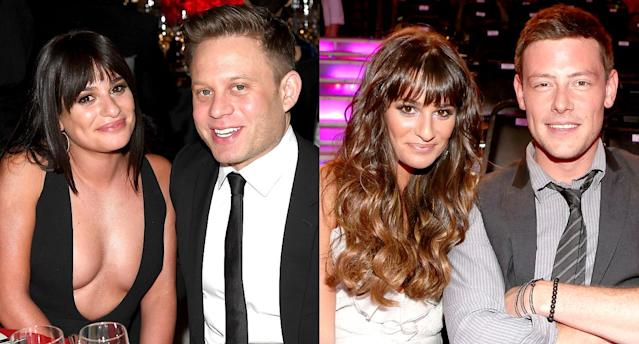 Lea Michele with Zandy Reich; Lea Michele with Cory Monteith. (Photo: Getty Images)