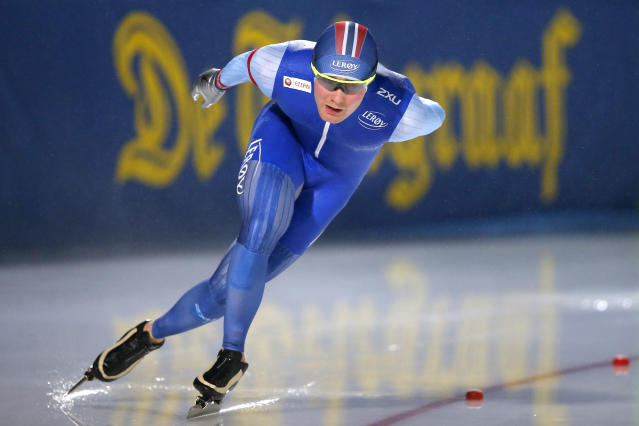 Sverre Lunde Pedersen of Norway competes during the men's 5,000 meters race at the World Championships Speedskating Allround at the Olympic stadium in Amsterdam, Netherlands, Saturday, March 10, 2018. (AP Photo/Peter Dejong)