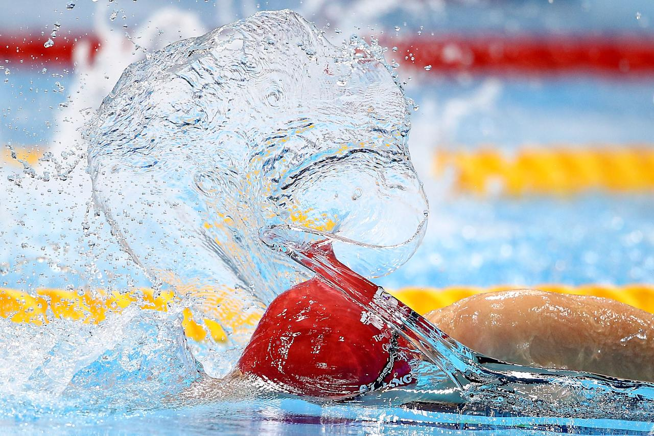 LONDON, ENGLAND - AUGUST 02:  Rebecca Adlington of Great Britain competes in the Women's 800m Freestyle heat 5 on Day 6 of the London 2012 Olympic Games at the Aquatics Centre on August 2, 2012 in London, England.  (Photo by Al Bello/Getty Images)