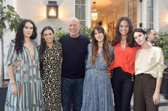 Rumer Willis, Demi Moore, Bruce Willis, Scout Willis, Emma Heming Willis and Tallulah Willis attend Demi Moore's 'Inside Out' Book Party on September 23, 2019 in Los Angeles, California. (Photo by Stefanie Keenan/Getty Images for goop)