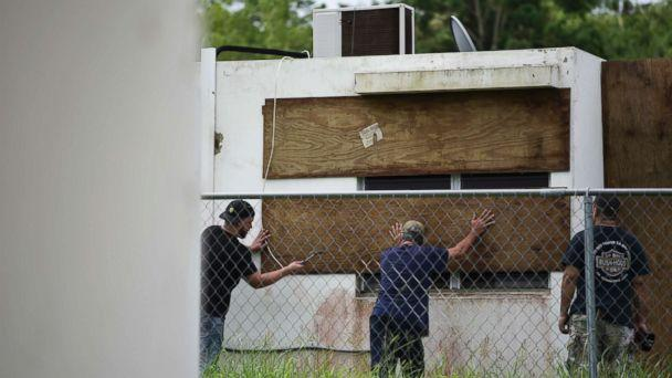 PHOTO: Residents of Las Lomas community board up windows in preparation for Hurricane Irma, in Ceiba, Puerto Rico, Sept. 6, 2017. (Carlos Giusti/AP)
