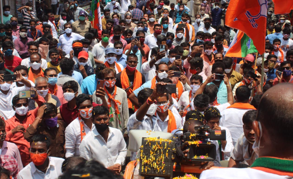 Crowds of BJP supporters last week during India's Covid crisis.