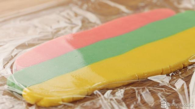 Rainbow Sandwich Cookies rolling dough
