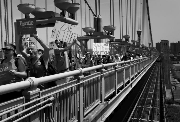 <p><b><b>DNC - Day 1</b></b></p><p>Supporters of Bernie Sanders cross the Benjamin Franklin Bridge from Camden, NY at the Democratic National Convention Monday, July 25, 2016, in Philadelphia, PA.(Photo: Khue Bui for Yahoo News)</p>